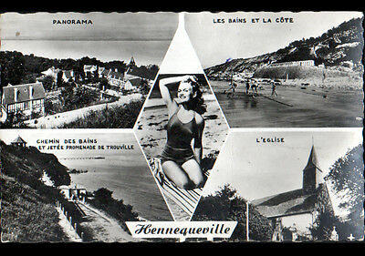 HENNEQUEVILLE / TROUVILLE (14) PIN-UP , VILLAS & EGLISE en,1961