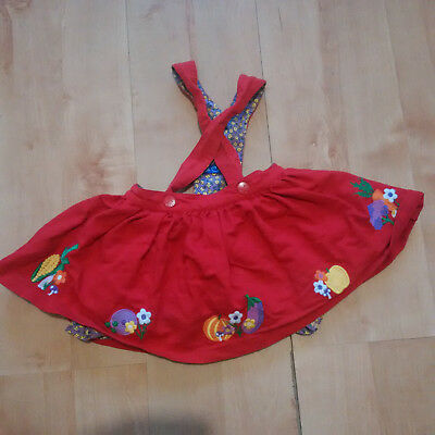 Little Bird by Jools Oliver Red Pinafore Skirt Dress 12-18 months, used