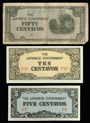 PHILIPPINES:- 3 different, WW2 Japanese occupation notes,5, 10 & 50 ctvs. AP6964