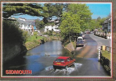 Sidmouth - Car going through Ford - Posted Postcard