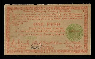 PHILIPPINES:- 1945  WW2 Negros Emergency currency board 1 Peso note. AP6965