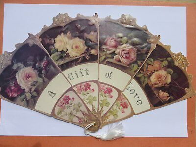 Ancien Eventail Vintage Fleur*a Gift Of Love* Carton