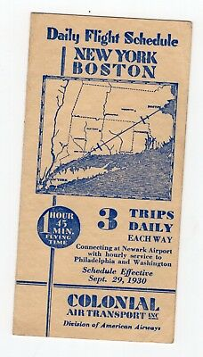 1930 Colonial Air Transport, Division of American Airways  schedule
