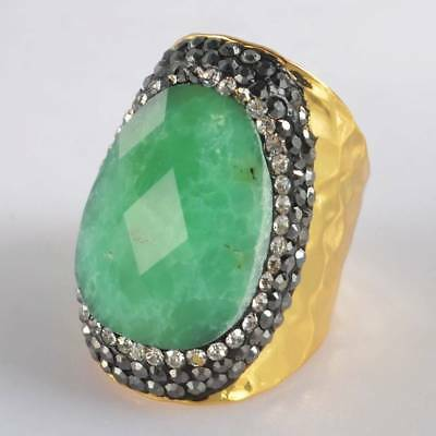 Size 6.5 Australia Natural Chrysoprase Faceted Pave CZ Ring Gold Plated H120368