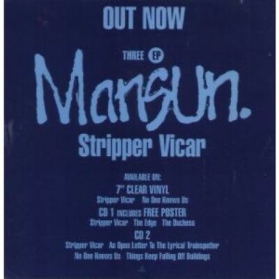 "MANSUN Stripper Vicar CARD UK Parlophone 12"" X 12"" Promo Display Card"