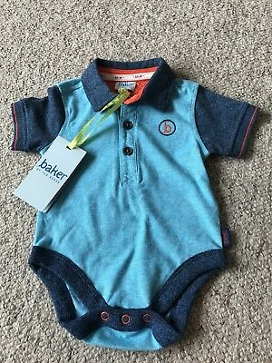 Baby Boys Ted Baker Turquoise Polo Shirt Vest Top Age 0-3 Months BNWT NEW
