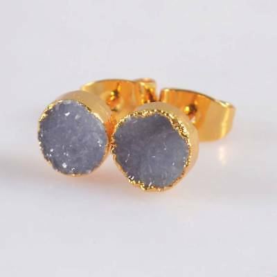 7mm Round Natural Agate Druzy Geode Stud Earrings Gold Plated H120380