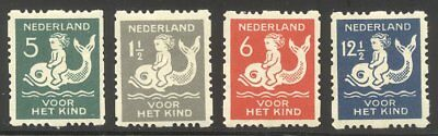NETHERLANDS #B37a-40a Mint - 1929 Child on Dolphin, Sync. Perfs