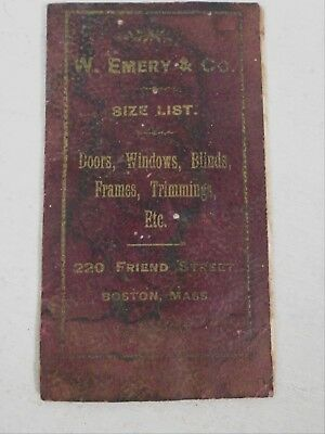 W Emery Co 1890 Catalog Doors Windows Frames Trim Building Hardware Boston Mass
