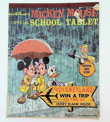 Vintage 1960 Walt Disney Mickey Mouse Official School Tablet Win a Trip Entry