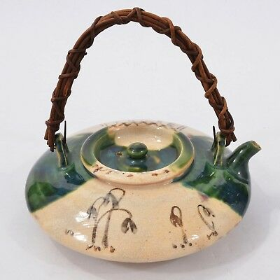 FINE Antique Old JAPANESE Ceramic ORIBE Ware TEAPOT Sake POT Signed LOVELY Form