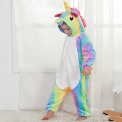 Rainbow Unicorn Kids Kigurumi Animal Cosplay Costume Onesie01 Pajamas Sleepwear