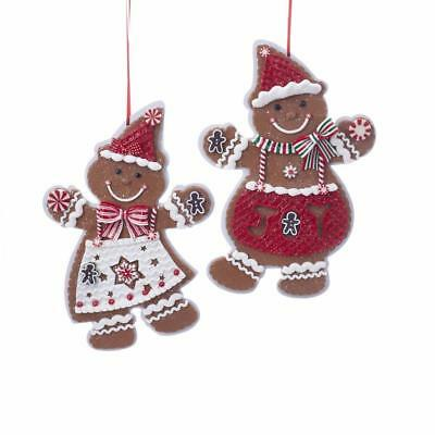 Kurt Adler Red and White Large Gingerbread Boy and Girl Ornaments, 2 Assorted, D