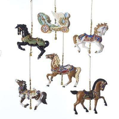 "Kurt Adler 4.5"" Vintage Carousel Horses and Chariot Ornaments, 6 Assorted, C7616"