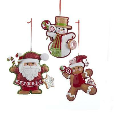 Glitter Gingerbread Cookie Santa, Snowman and Boy Ornament for personalization,
