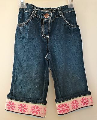 New Gymboree Winter Ballerina Snowflake Cuff Jeans Girl's Size 12-18M