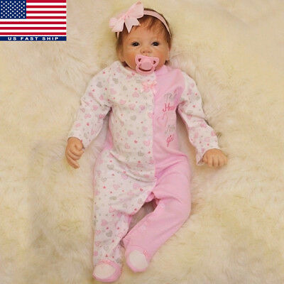 22'' Handmade Lifelike Baby Girl Silicone Vinyl Realistic Toddler Reborn Doll US