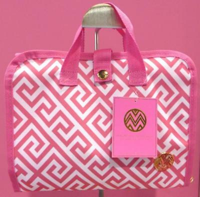 Craft Tool Tote Macbeth Collection Pink White Geometric Pattern 3 Compartments
