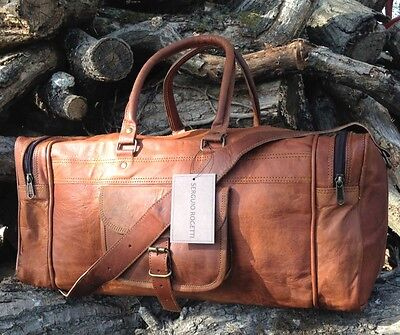 New Hand-Crafted Leather Holdall Shabby Chic Travel Weekend Bag Overnight Tan