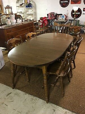 Temple Stuart Early American Furniture Co Table and 2 Extra Leaves 5 Chairs