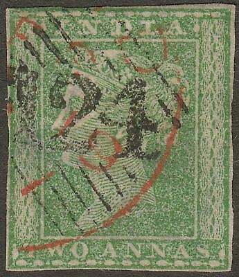 India used Aden 1854 QV 2a Green Used with 124 Aden Postmark SG Z7 cat £100