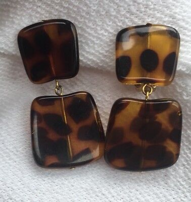 Vintage 1950s Pair of Faux Tortoise Shell Lucite Dangle Clip-on Earrings