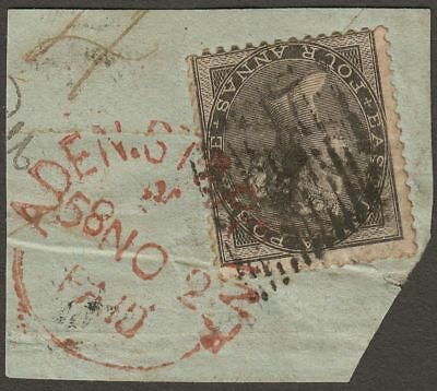 India 1858 QV 4a Used Piece with Aden Steamer Point Paid Transit Proud PD2