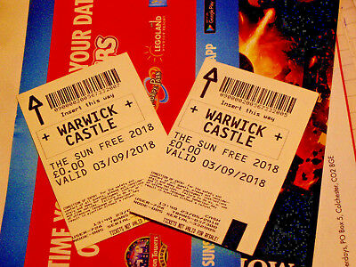 2 x Warwick Castle Tickets 3rd Sept 2018 FAMILY FUN ATTRACTION TICKETS