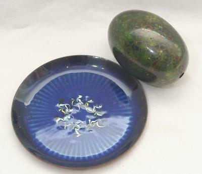 Pretty Vintage Cloisonne Egg and Small Shallow Dish
