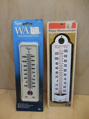 2 Vintage Taylor Wall Thermometers Mint On Cards 1960's