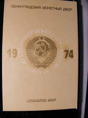 Russia 1974 Mint Set, 9 Coins plus Mint Medallion, Leningrad Mint, Yellow Sleeve