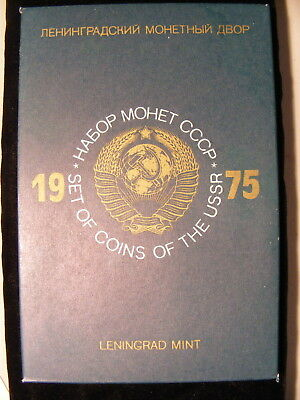 Russia 1975 Mint Set, 9 Coins plus Mint Medallion, Leningrad Mint, Green Sleeve
