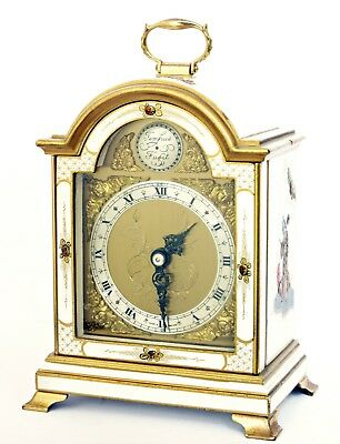 Vintage Lacquered Chinoiserie Elliott Bracket Mantel Clock, Working Very Well