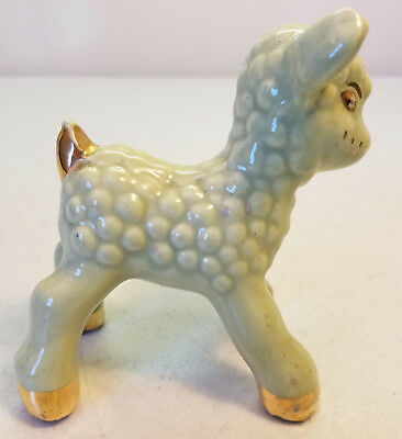 Mid Century Ceramic Sheep Figure Pastel Green With Gold Accents