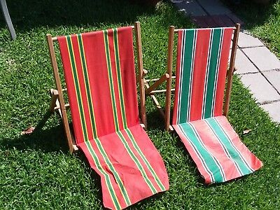 VINTAGE CANVAS WOOD Folding Beach Chairs - $40.00 | PicClick