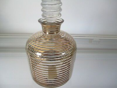 Pretty Decanter - Clear With Gold Rings & Lovely Stopper Approx 14Cm X 7 1/2Cm