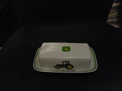 """Gibson John Deere Ceramic Butter Dish With Cover """"nothing Runs Like A Deere!"""""""