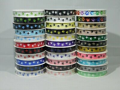 2 metre or Full Roll (25 mtrs) 15mm 25mm Paw Print Satin Double Ribbon Dog Pet