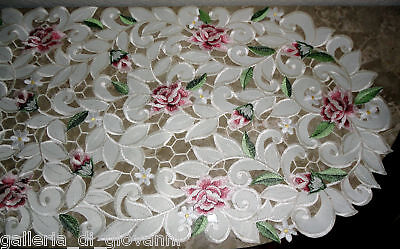 "Royal Rose   Lace  Runner  70""  Doily  Floral  Flower"