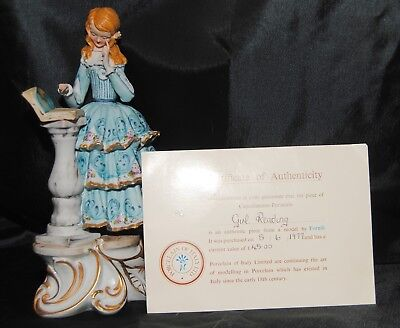 Capodimonte Vintage 1977 Girl Reading Figurine With Coa