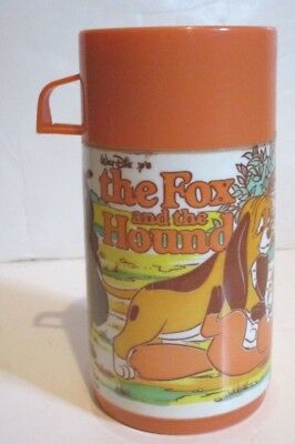 Disney The Fox And The Hound Plastic Thermos Bottle Only From Aladdin Lunchbox