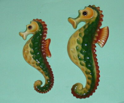 2 Vintage 1960's Ceramic Seahorses Green & Yellow Wall Decor Plaques