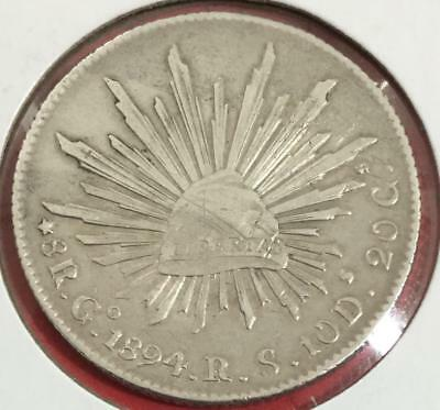 1894 Spanish SILVER 8 Reales Mexico! Old Coin!