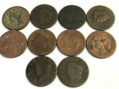 10 x Early US Large Cents, 1800s 1C Coronet Head, heavy circulation, Lot #3