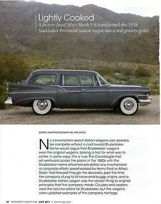 1958 STUDEBAKER PROVINCIAL STATION WAGON 4 pg COLOR Article