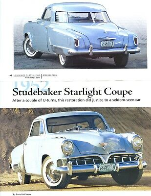 1952 STUDEBAKER STARLIGHT COUPE RESTORATION 6 pg Color Article