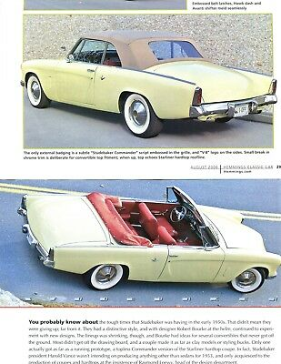 1953 STUDEBAKER COMMANDER CONVERTIBLE 4 pg COLOR Article ONE-of-ONE