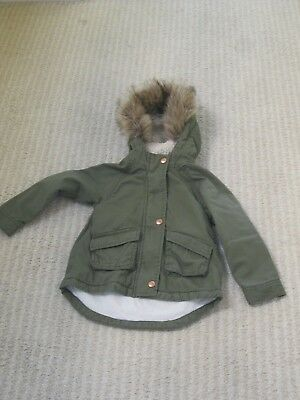 Toddler Girl's Old Navy Hooded Faux Fur Trim Field Jacket-Olve-4T