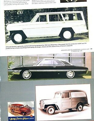STUDEBAKER - BROOK STEVENS AUTO DESIGN 8 page Article HAWK JEEP WILLYS