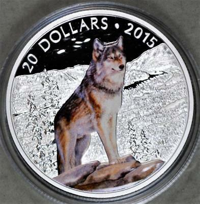 Canada 2015 20 Dollars Proof Silver Coin - Imposing Alpha Wolf - Low Mintage
